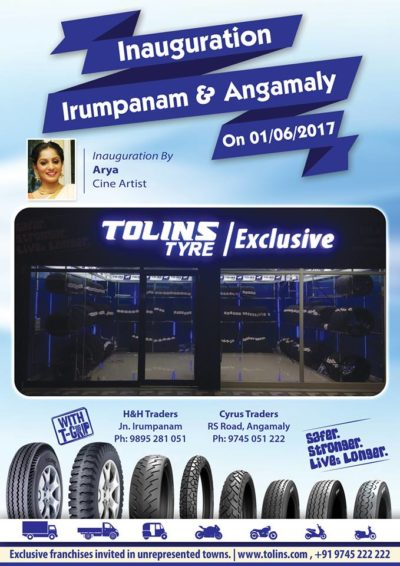 Tolins Tyre Exclusive Shops at Angamaly and Irumpanam